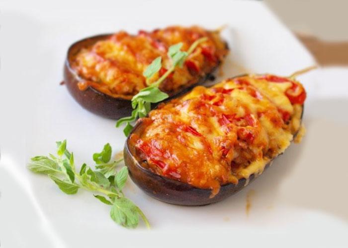 Tender baked eggplants in sour cream sauce