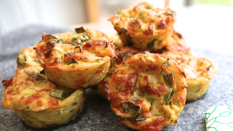 "Hearty ""Muffins"" with cheese and greens"