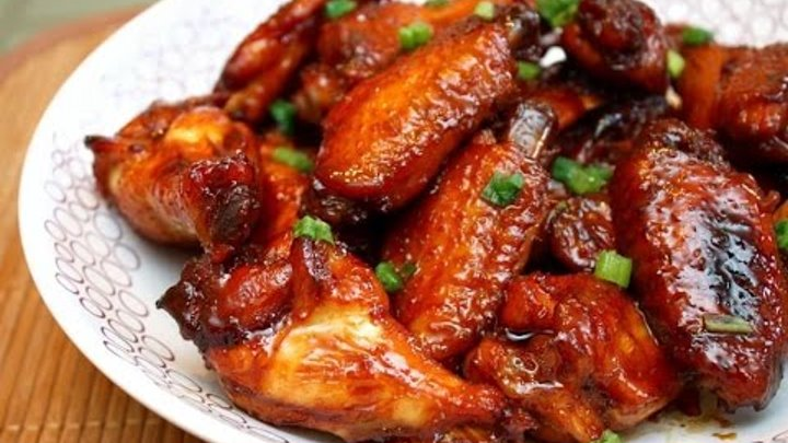 Appetizing wings marinated in soy-honey sauce