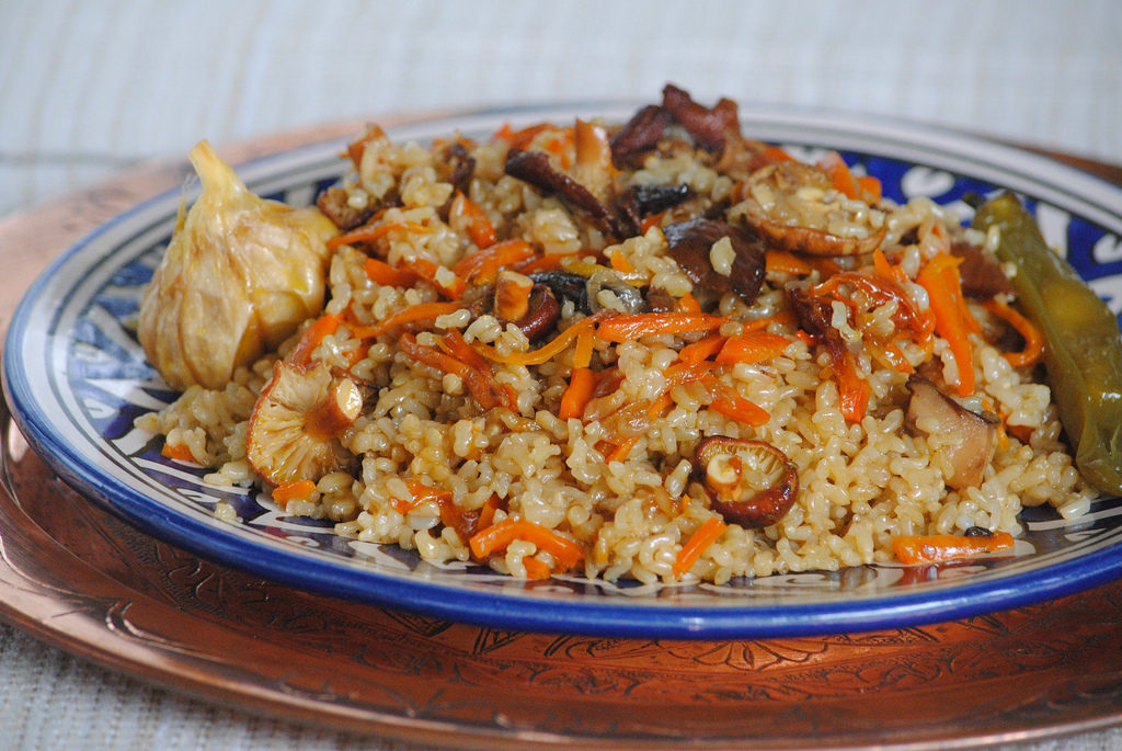 Aromatic pilaf with mushrooms