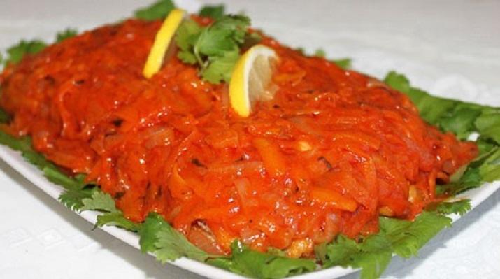 Delicious sea fish with marinade