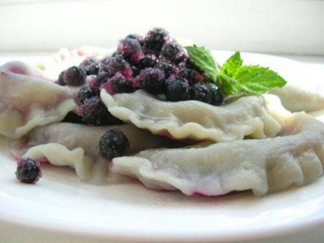 Delicious vareniki with black currant