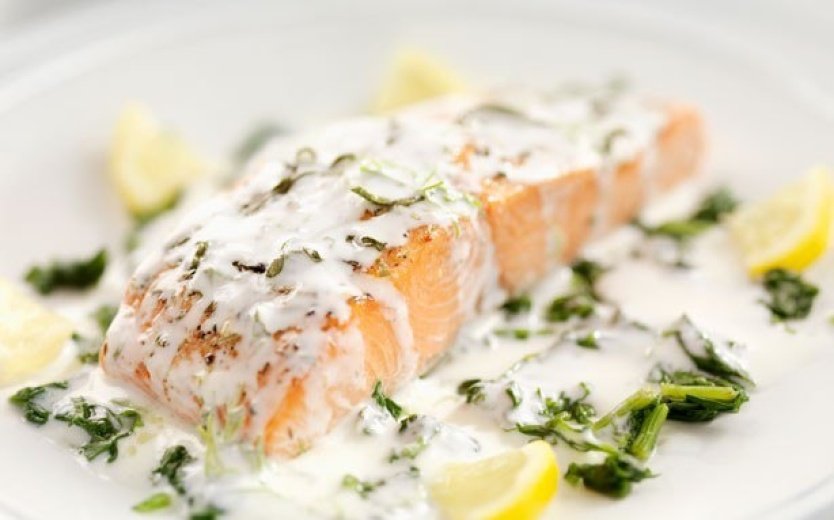 Spicy salmon baked in herb sauce