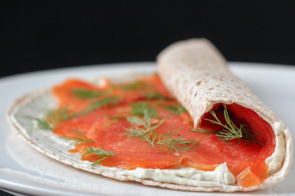 Lavash roll with red fish and cream cheese
