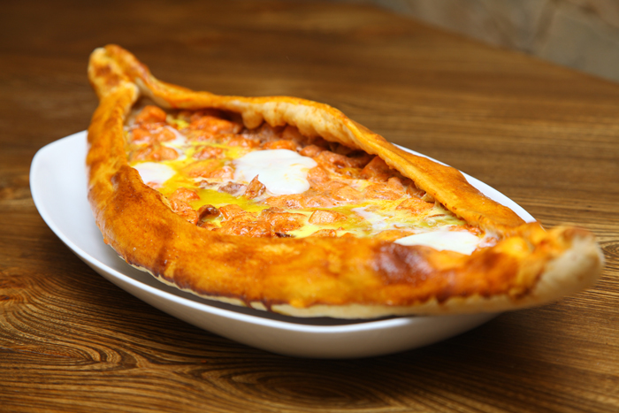 Delicious pide with cheese and egg