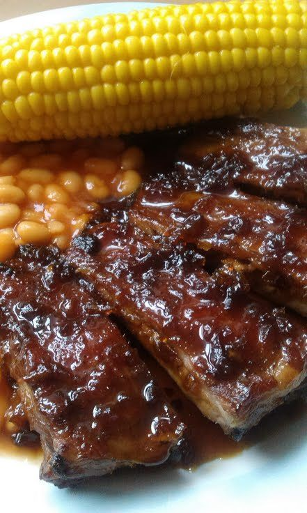 Gorgeous pork ribs in sweet and sour sauce