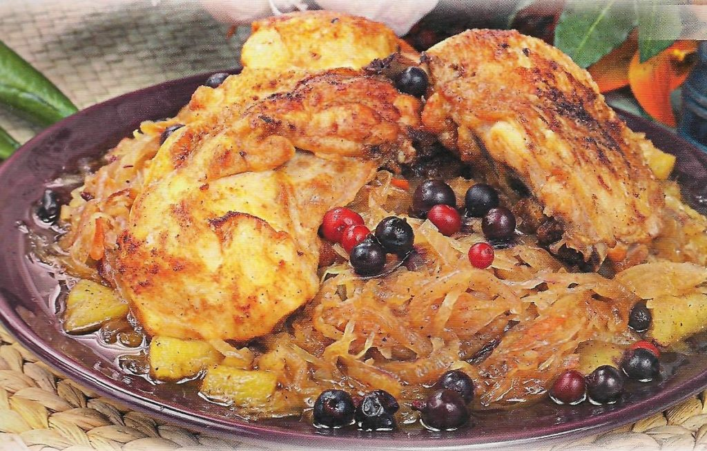 Juicy chicken on cabbage pillow