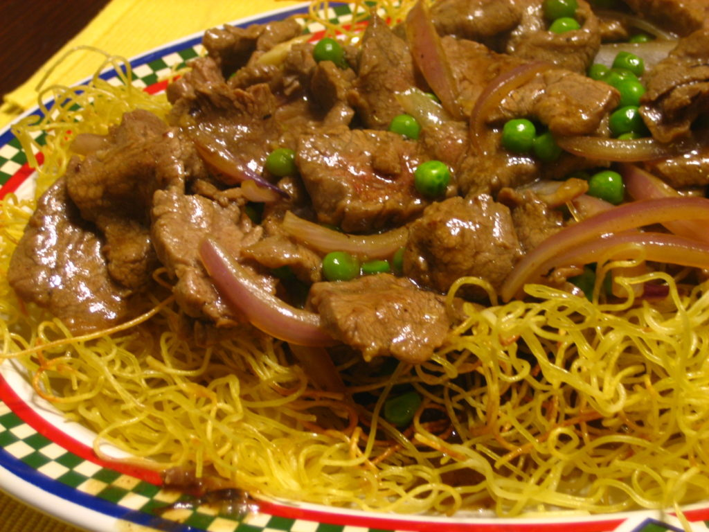 Asian crispy beef with noodles
