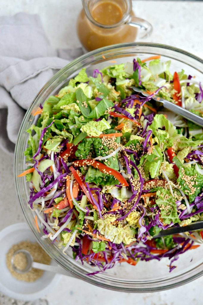 Asian salad with vegetables and peanut dressing