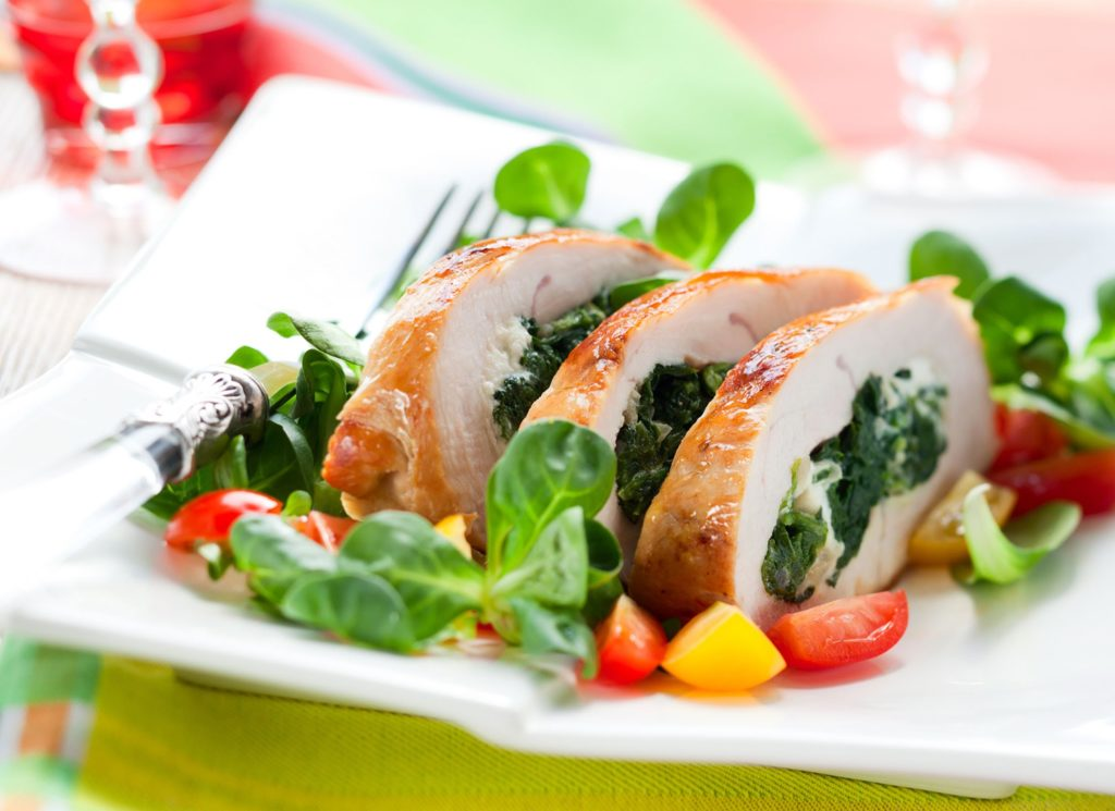 Baked chicken breast: with cheese and spinach