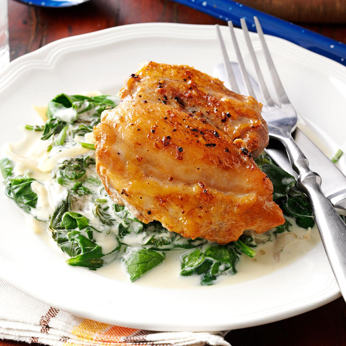 Orange Balsamic Chicken with Spinach