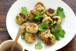Chicken meatballs in Asian style