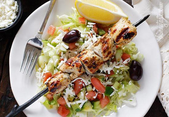 Chicken shish kebabs with rice salad