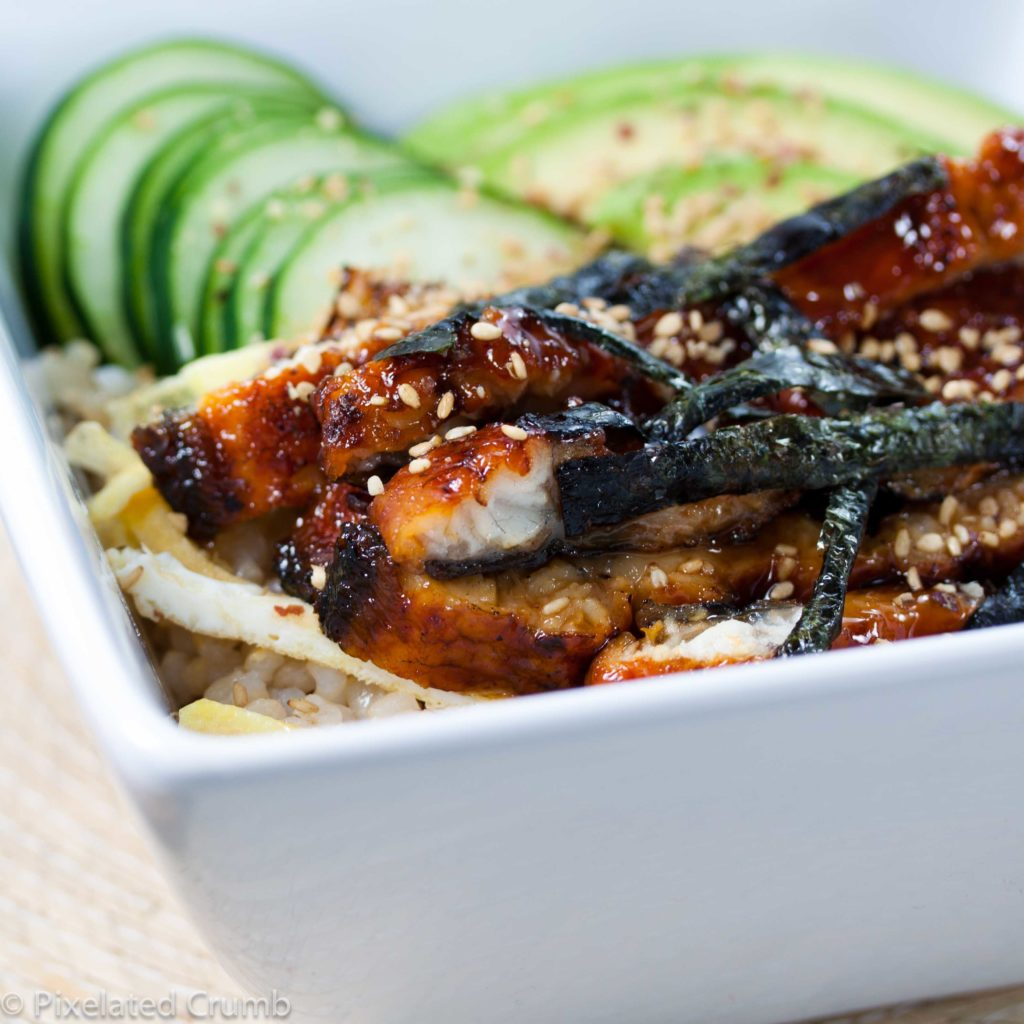 Eel salad with onion marinade and cucumber