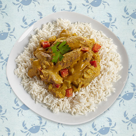 Mackerel with rice, ginger and curry
