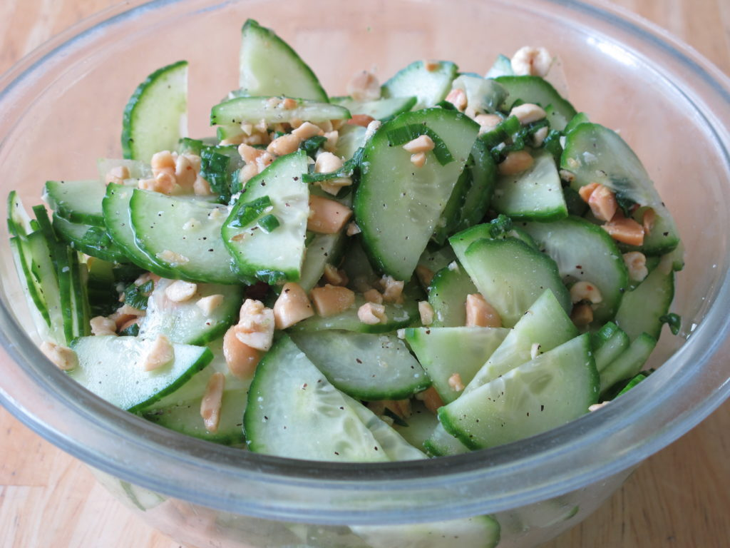 Salad of cucumbers and peanuts