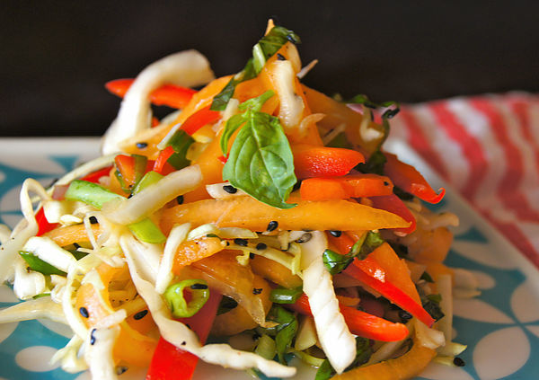 Salad with melon in Asian style