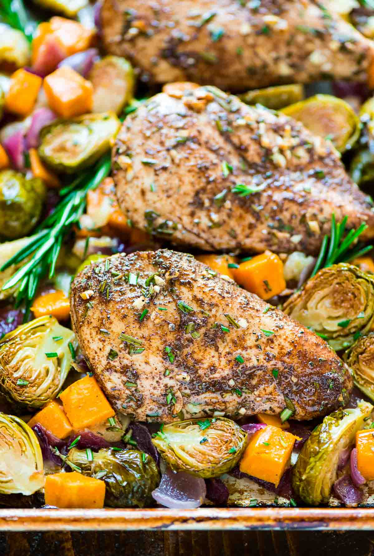 Tasty Chicken with Sweet Potatoes and Brussels Sprouts