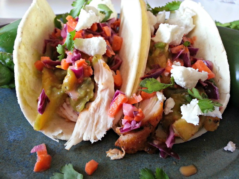 Shrimp tacos with watermelon and apple salsa and dressing from goat cheese