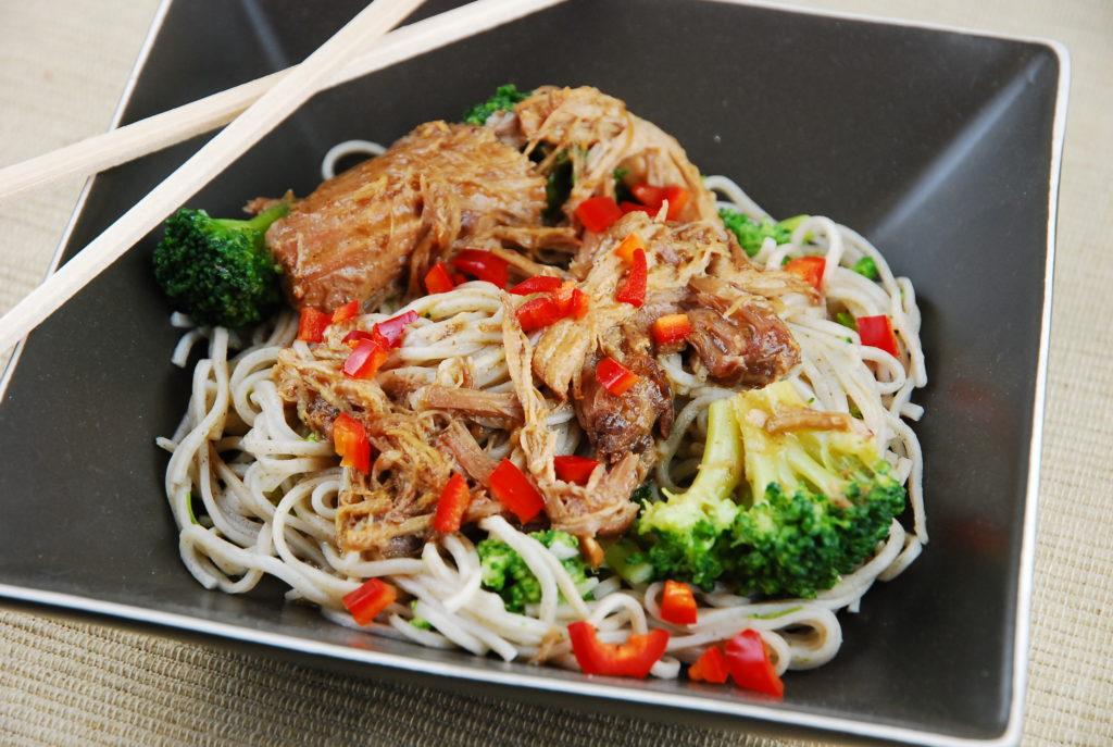 Soba with pork and broccoli and hoisin sauce