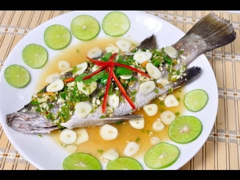 Steamed sea bass with lime and chili