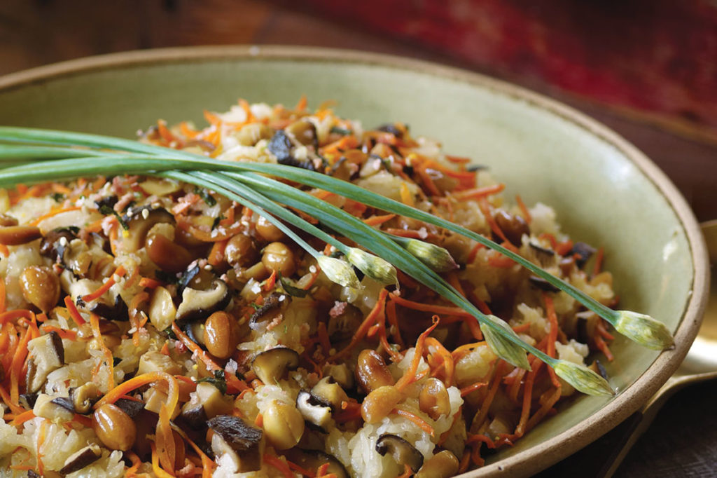 Asian rice with mushrooms