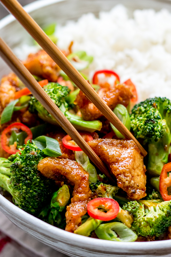 Crispy Chili Chicken With Broccoli