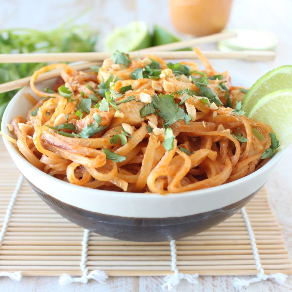 Noodles with chicken in orange-ginger sauce