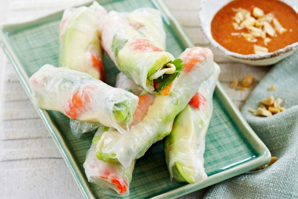Rolls of rice paper with shrimps