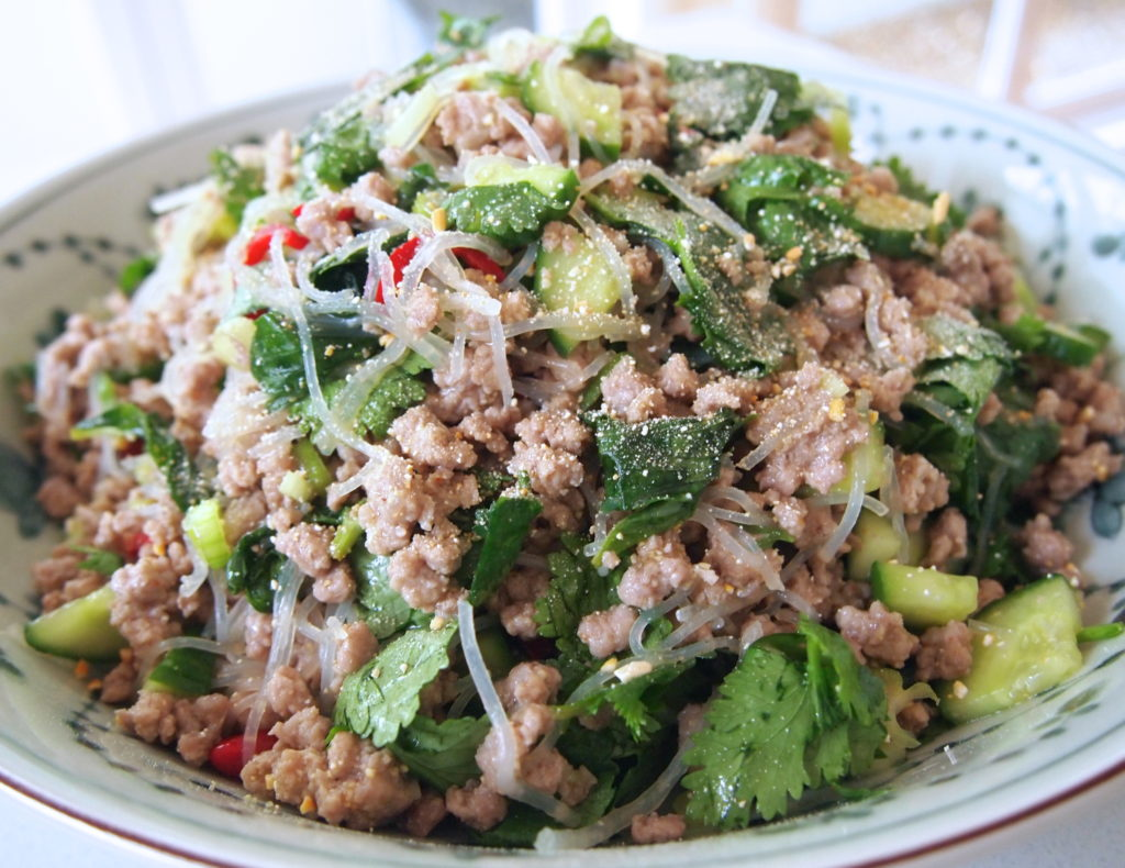 Salad from pork minced meat with rice noodles