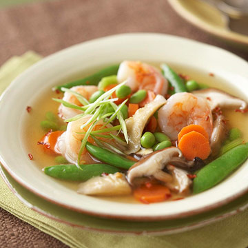 Soup with shrimps in Asian style