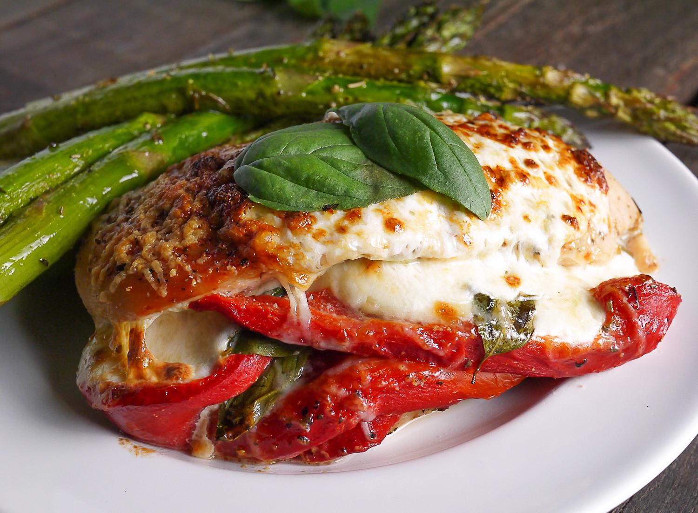 Pesto Tomato and Mozzarella Stuffed Chicken Breast