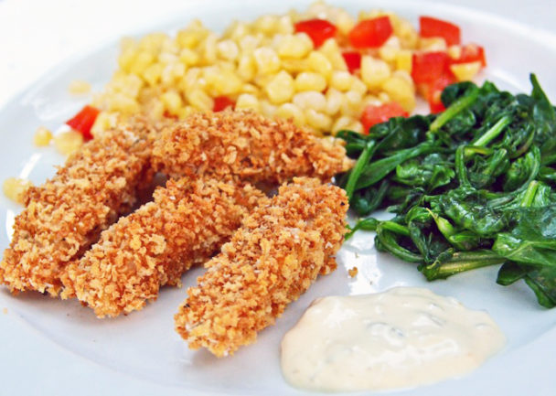 Fish Sticks with a Spinach Basil Dipping Sauce