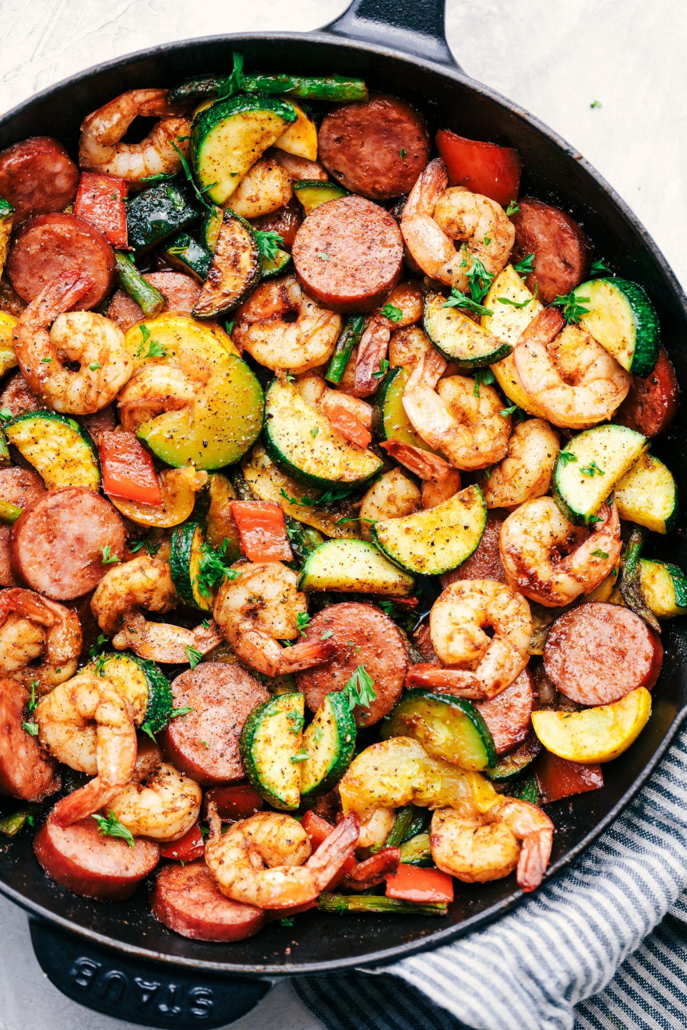 Shrimp and Sausage Skillet Paleo Meal