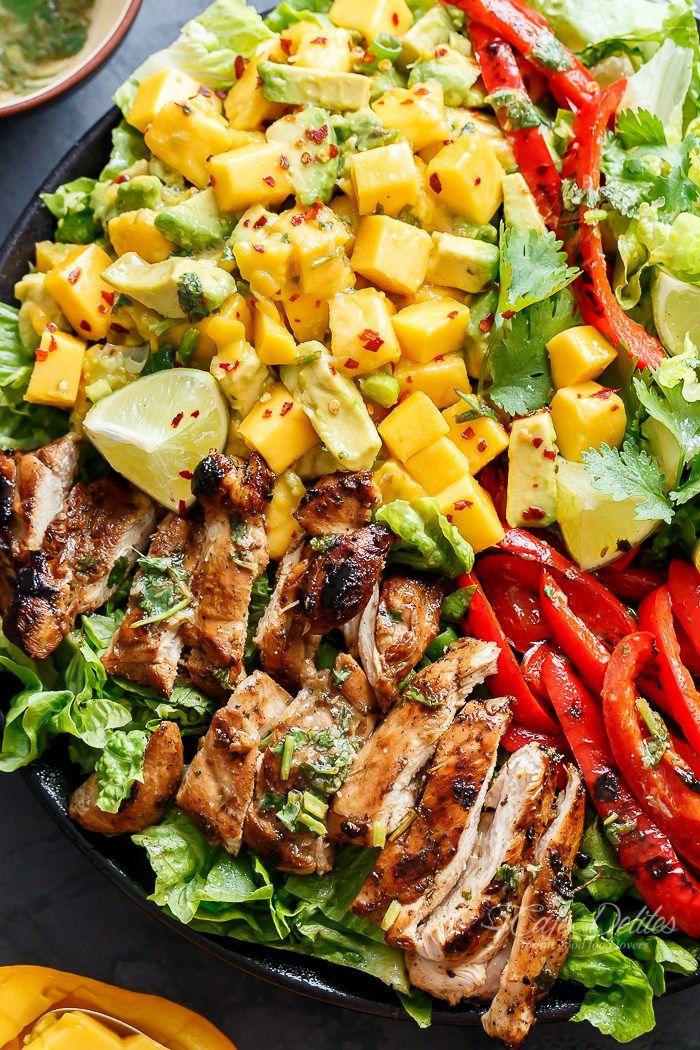 Cilantro Lime Chicken Salad with Mango Avocado Salad