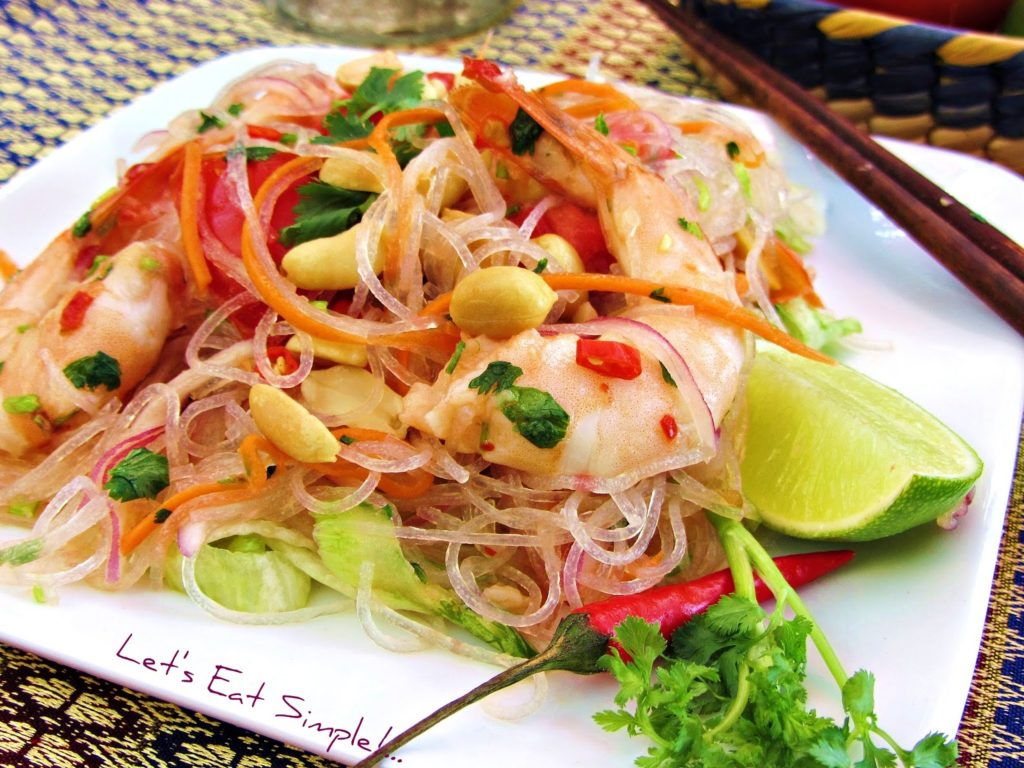 Unforgettable Asian salad with noodles and shrimps
