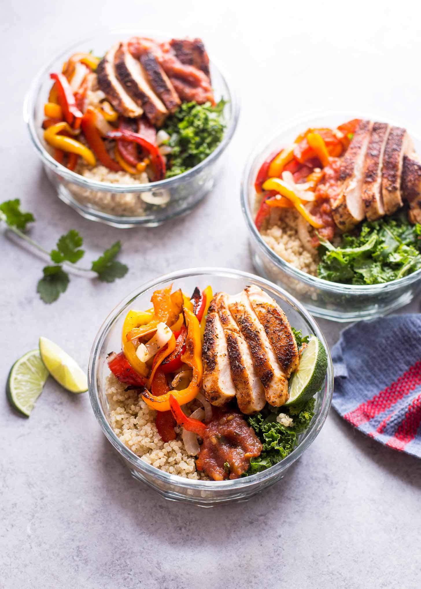 Slow Cooker Chicken Fajita Rice Bowls
