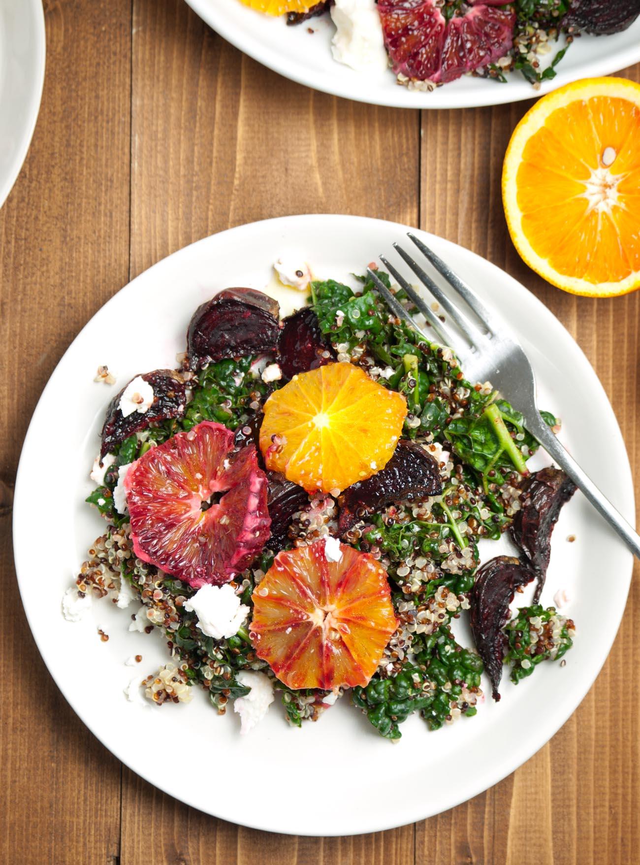 Quinoa Beet Kale Goat Cheese Salad