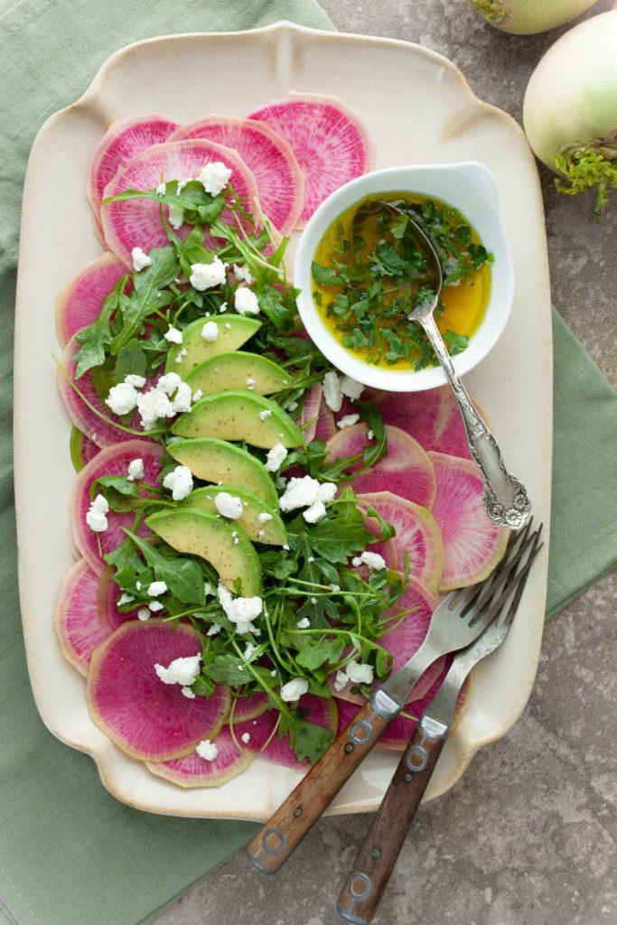 Salad from watermelon, arugula and radish