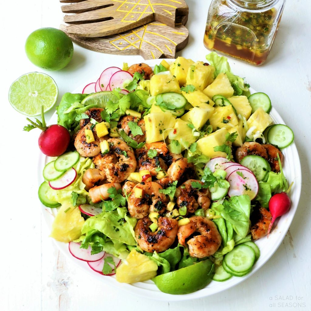 Salad with shrimps, cheese, pineapple - harmony of taste!