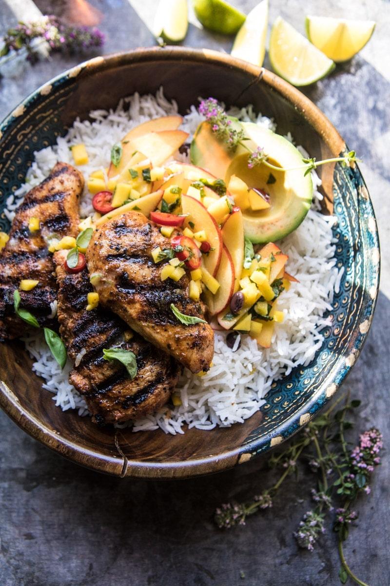 Quick Grilled Jerk Chicken with Mango-Nectarine Salsa