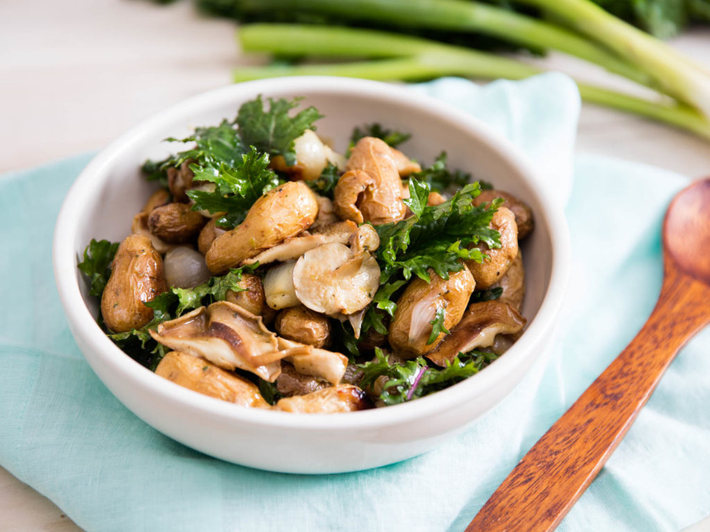 Festive salad with mushrooms and baked chicken