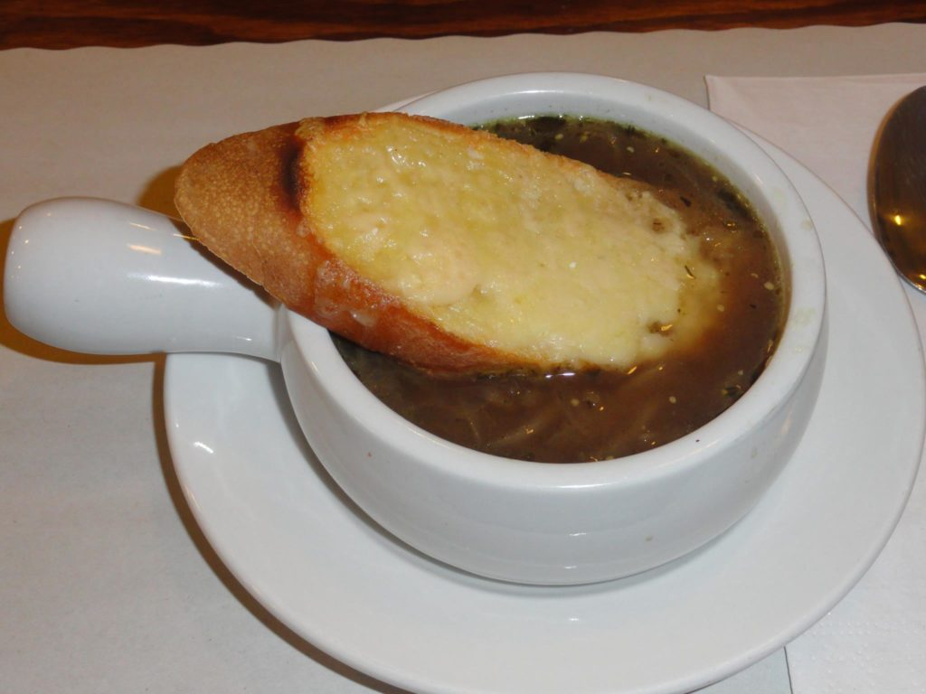 French onion soup with cheese and cognac