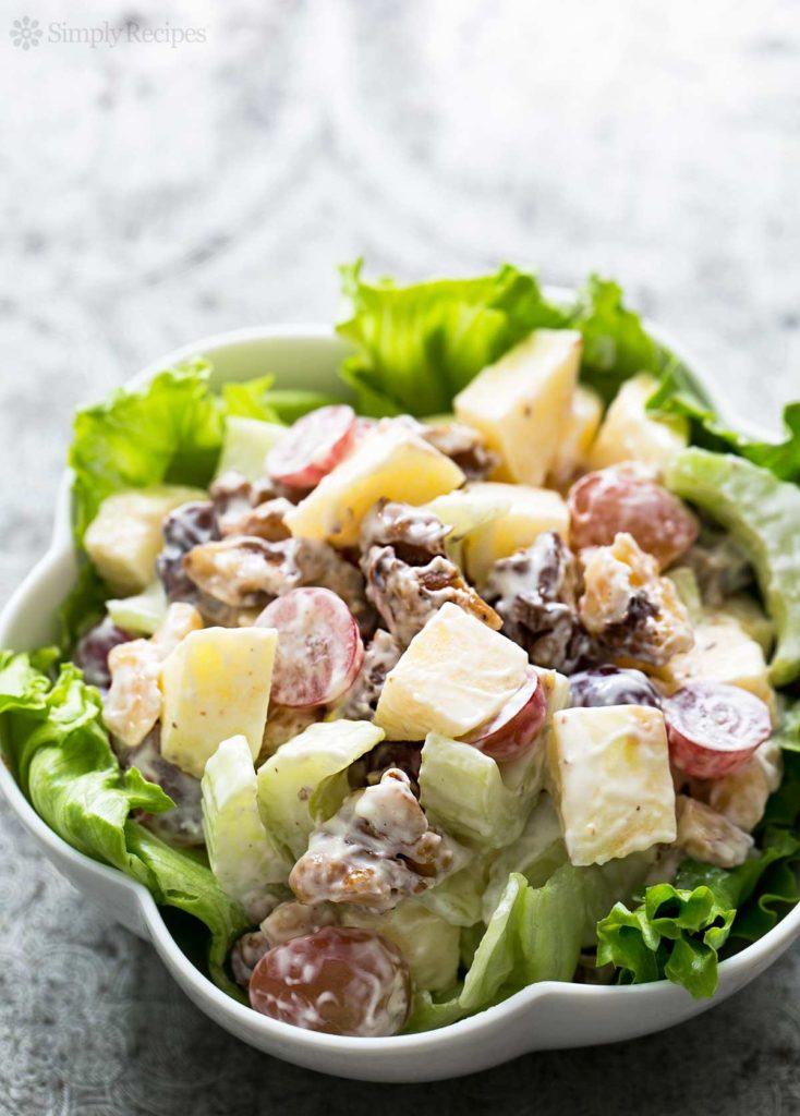 Original salad with chicken, nuts and grapes