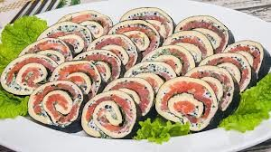 Rolls of red fish with original filling
