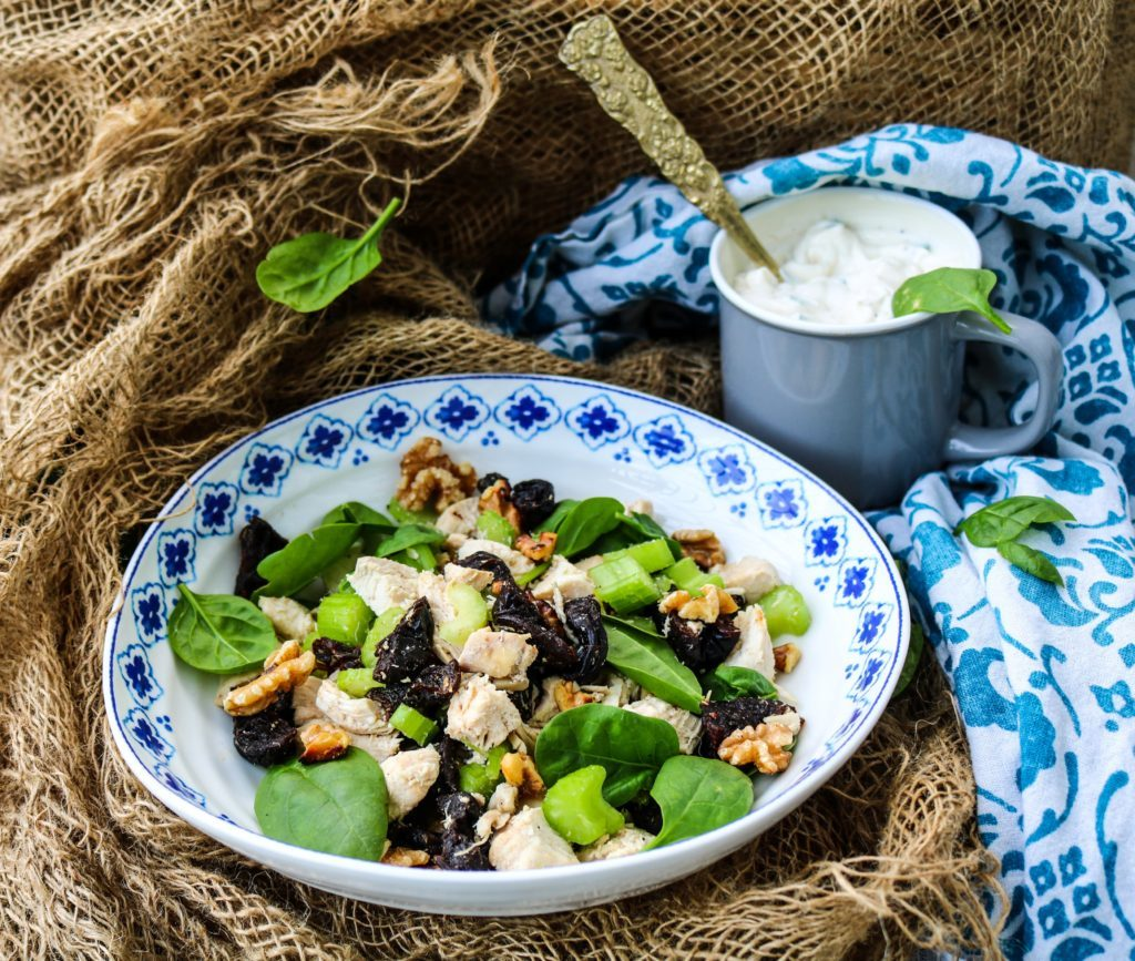 Salad with chicken and prunes