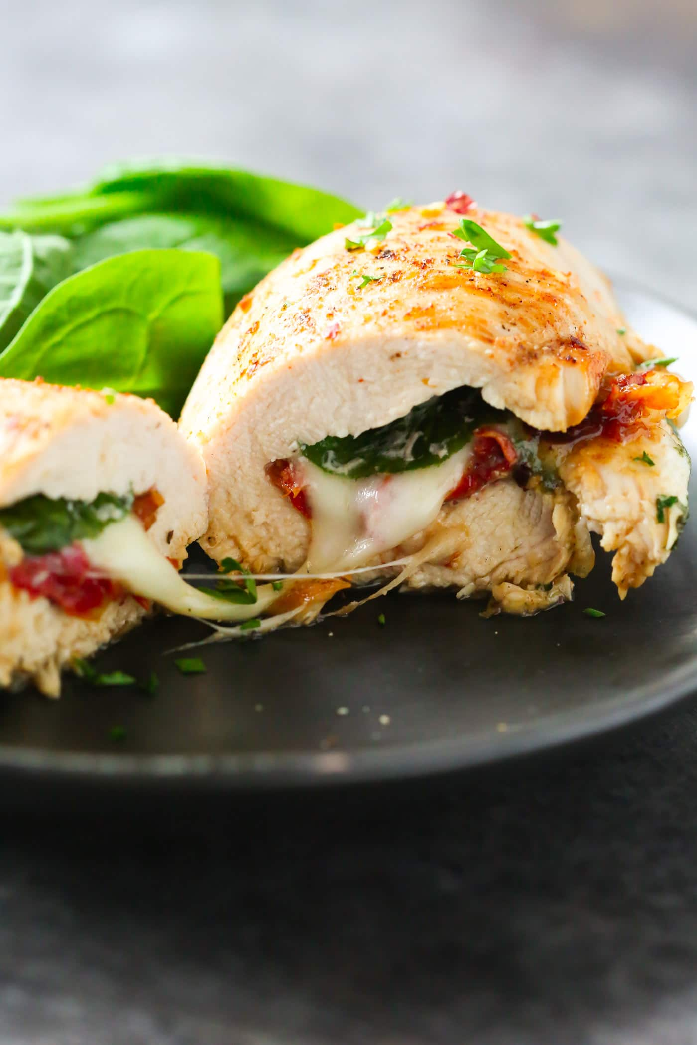 Sun Dried Tomato, Spinach and Cheese Stuffed Chicken Breast
