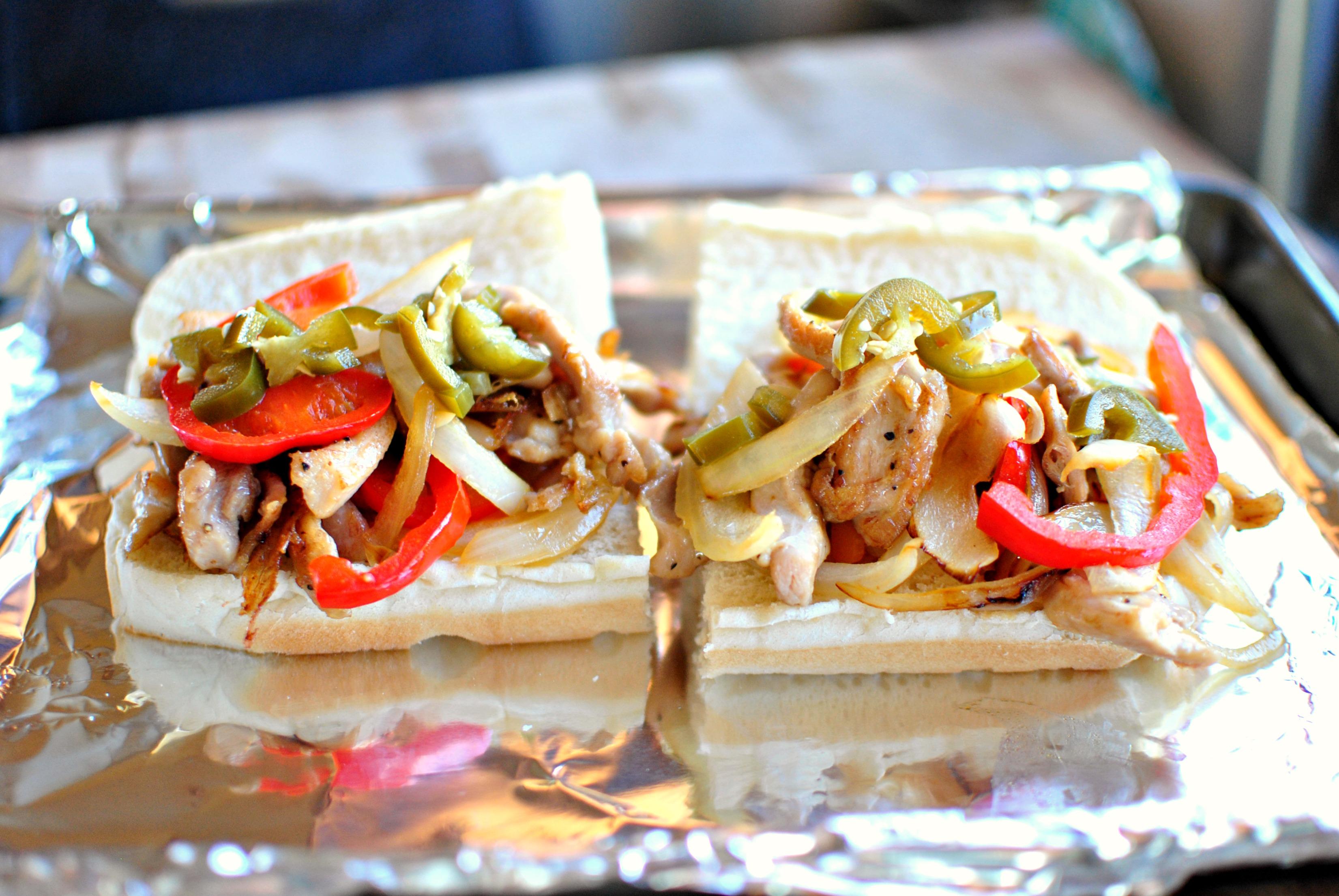 Chicken Philly Cheese Steak Sandwiches