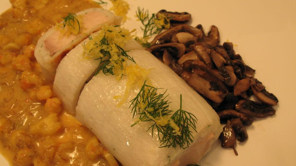 Fish roll with mushroom filling