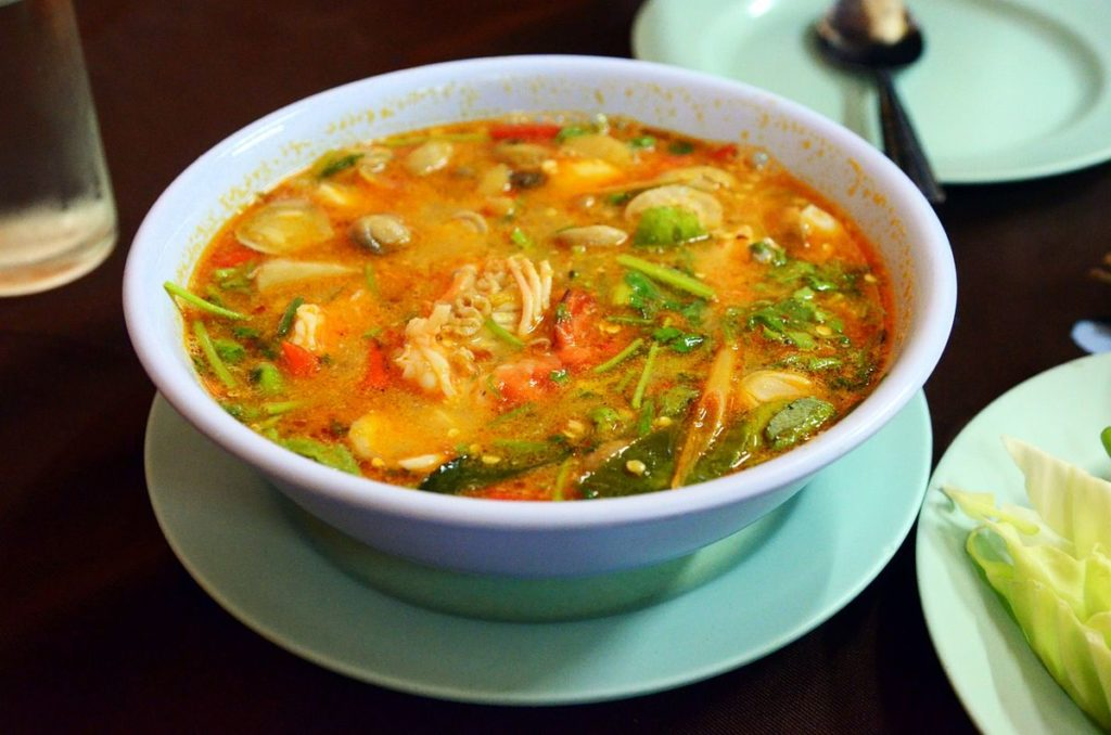 Rice soup with red fish